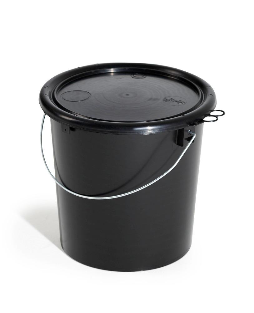 Elektrisch ableitfähiger Kunststoff-Eimer mit UN-Zulassung, 11 Liter.