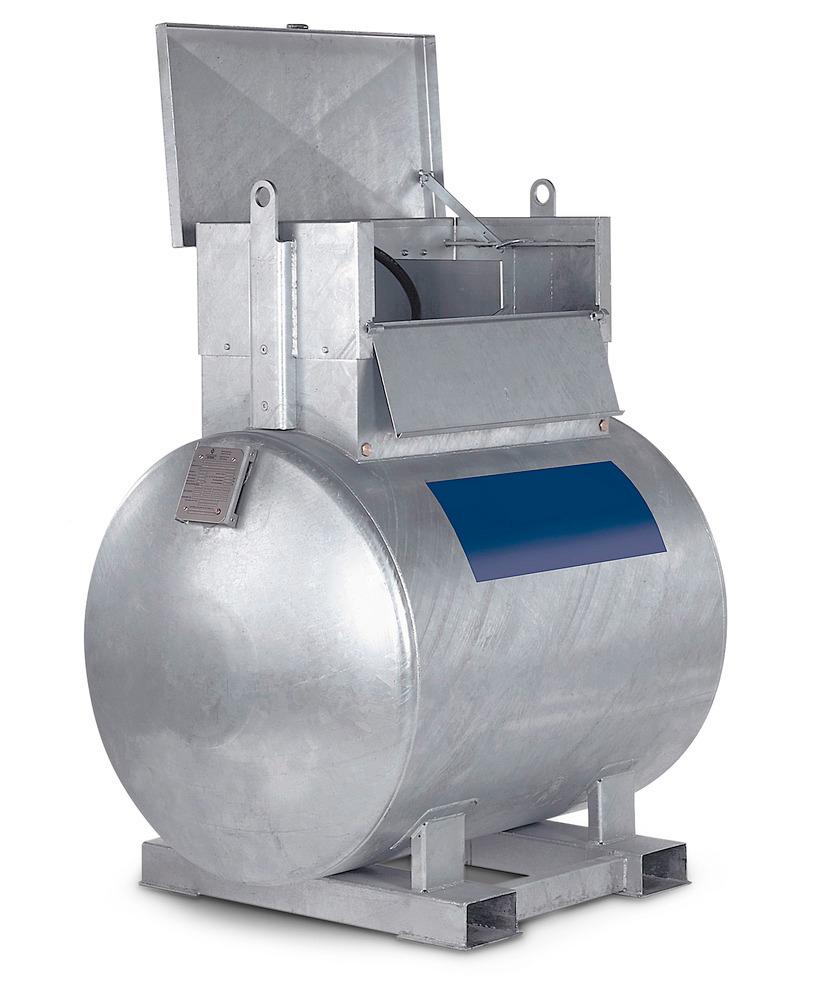 Kraftstoff-Container Typ KC-K mit Staukasten, 1000 Liter Volumen.