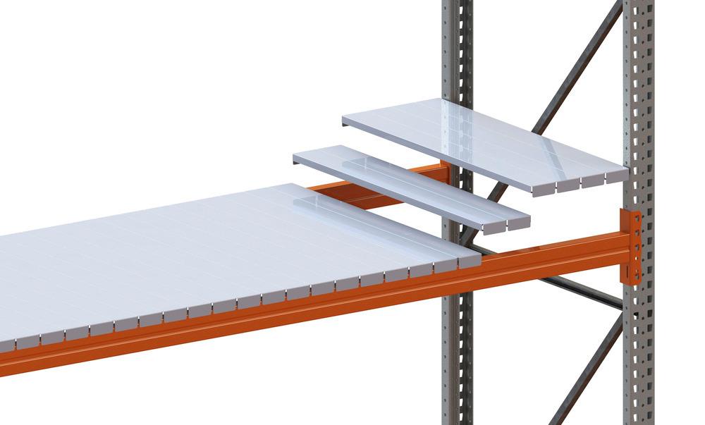 Verzinkte Fachböden ermöglichen ein direktes Einlagern von einzelnen Packstücken o. ä., siehe Tabelle; nicht für Palettenlagerung und Staplerbedienung geeignet.