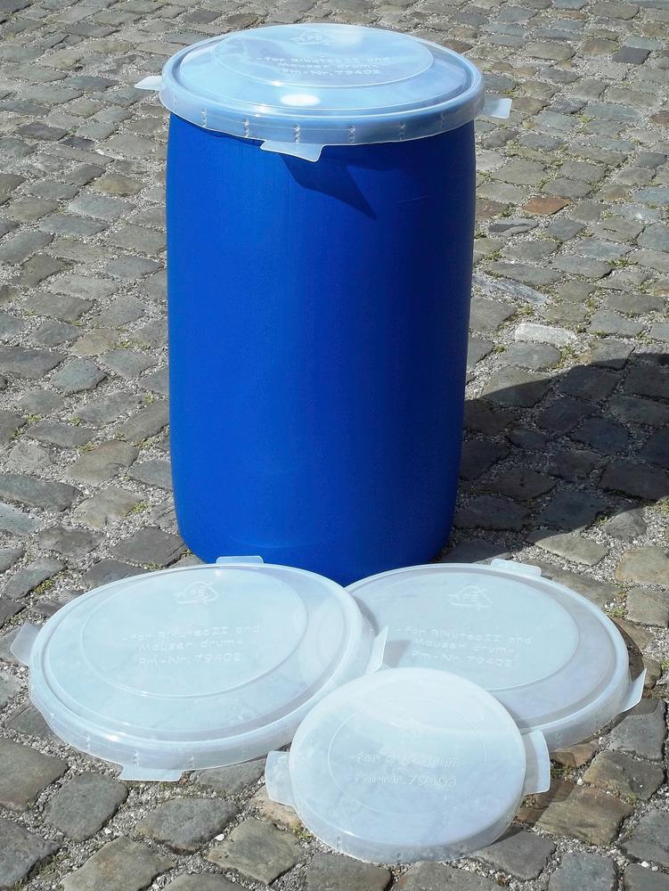 Fassdeckel aus PE in 3 Größen für 60-, 120- oder 200-Liter-Fässer.