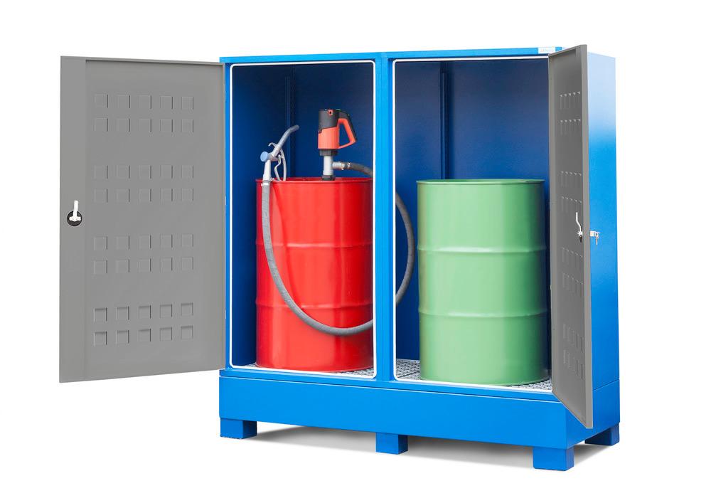 Gefahrstoffdepot Securo Typ SC-2 für 2 Fässer à 200 Liter (Abfüllpumpe optional)