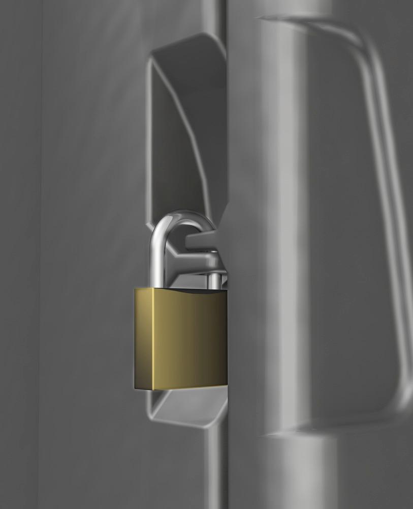 Der DENSORB Caddy Medium verfügt über eine Vorrichtung zum Verschließen mittels Vorhängeschloss bzw. zum Verplomben, um den Inhalt vor unbefugtem Zugriff zu schützen.