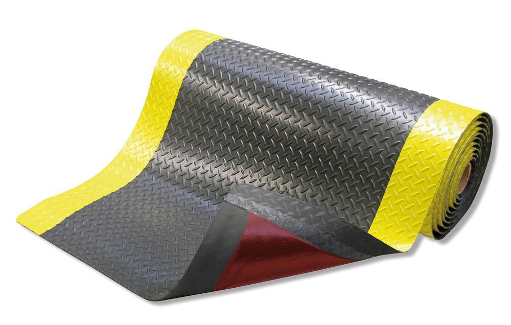 Umlaufend abgeschrägte Kanten, gelber Sicherheitsrand und Anti-Rutsch-Beschichtung RedStop™ auf der Unterseite