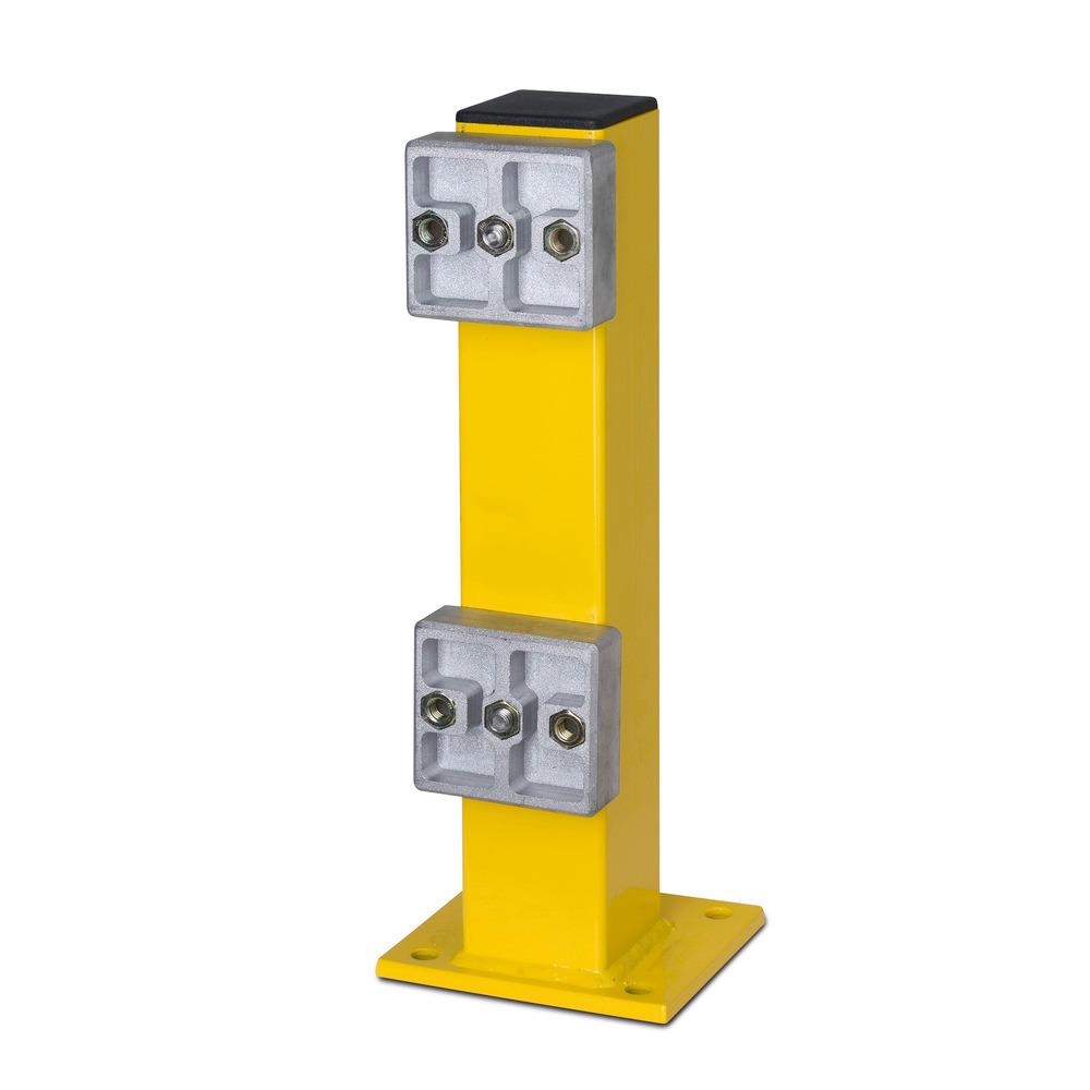 Standpfosten, 80 x 80 x 465 mm, Bodenplatte 160 x 140 x 10 mm. Befestigung durch Universaldübel oder Durchsteckanker, siehe Tabelle Zubehör.
