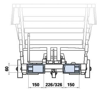 Skizze: Maße (in mm) Einfahrtaschen für Kippbehälter mit 300 bis 1000 Liter Volumen.