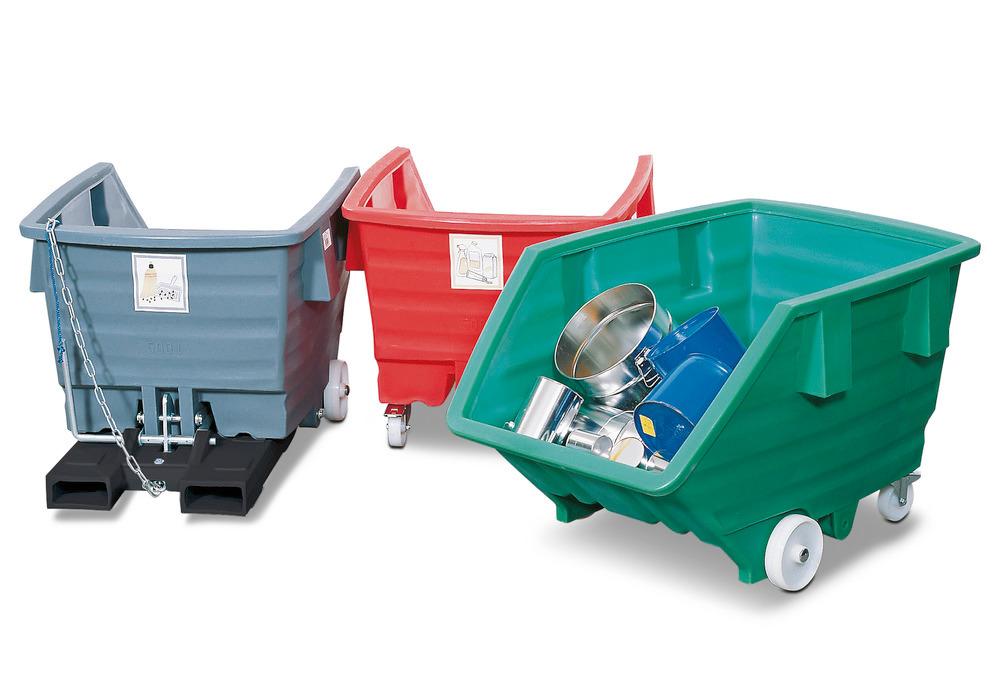Kippbehälter und -wagen Typ PolySkip von 300 bis 1000 Liter.