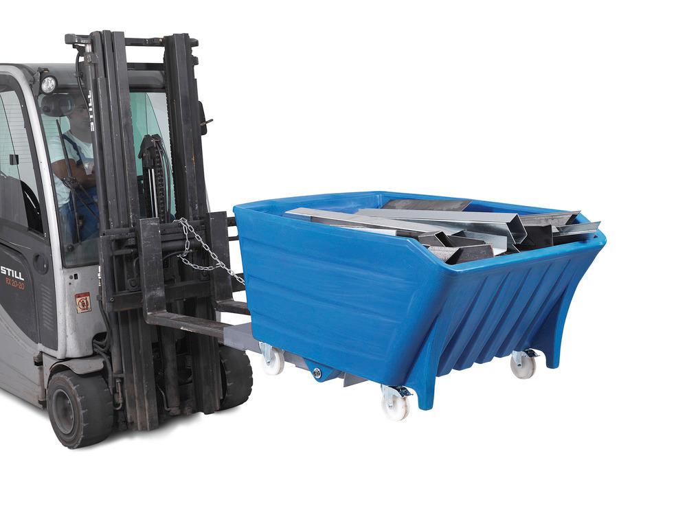 Schwerlast-Kippbehälter PolySkip PLUS mit Fahrrollen und Einfahrtaschen aus Stahl für Gabelstapler.
