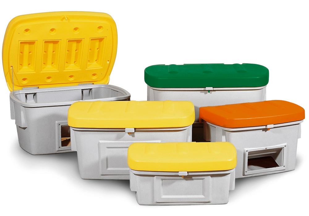 Streugutbehälter in 7 Größen, wahlweise mit oder ohne Entnahmeöffnung, in drei Deckelfarben erhältlich.