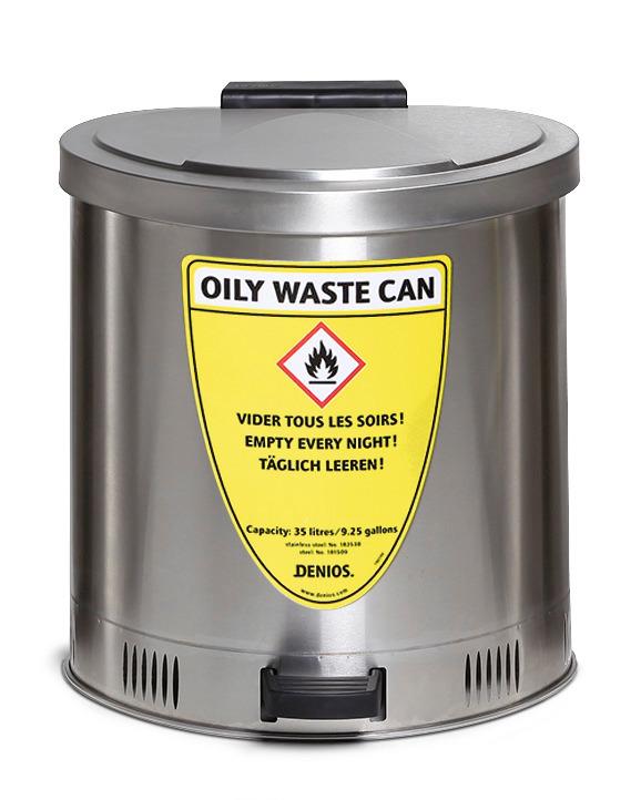 Zu jedem Entsorgungsbehälter wird ein mehrsprachiger Sicherheits-Aufkleber mitgeliefert.