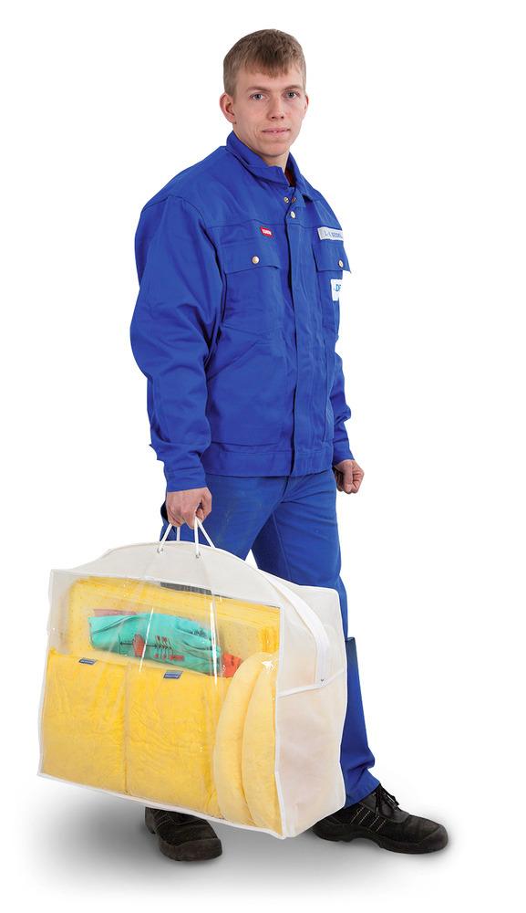 Das leichte, handliche Notfall-Set in einer transparenten Tragetasche mit kompakten Abmessungen ist ideal für kleine Leckagen und immer sofort im Zugriff. Die durchsichtigen Seitenteile ermöglichen jederzeit eine Überprüfung des Inhalts, ohne dass die Tasche geöffnet werden muss.