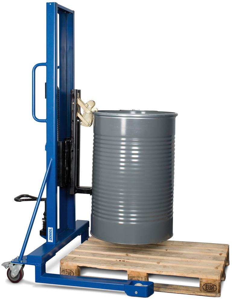 Fassgreifer Typ M: spezielle Greifmechanik für 60- / 200-Liter-Stahl-Spundloch- sowie Spannringfässer.