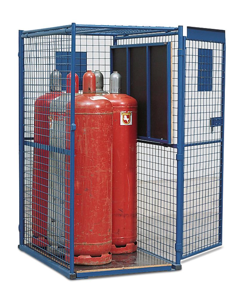 Gasflaschenschrank Typ GF 8.16 mit hochgeklapptem Einlegeboden für 33-kg-Flaschen, 1-flügelige Tür
