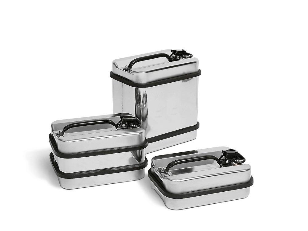 Edelstahlsicherheitsbehälter von 5 bis 22 Liter Volumen.