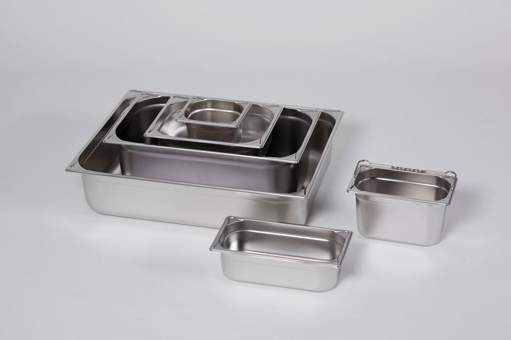 Kleingebindewannen aus Edelstahl, mit und ohne Bügelgriff lieferbar, Deckel optional