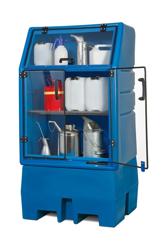 PolySafe-Depot Typ PSR 8.8 mit 3-teiliger Tür / Klappe, wahlweise für ein 200-Liter-Fass oder als Kleingebindelager mit ein oder zwei Regalböden.