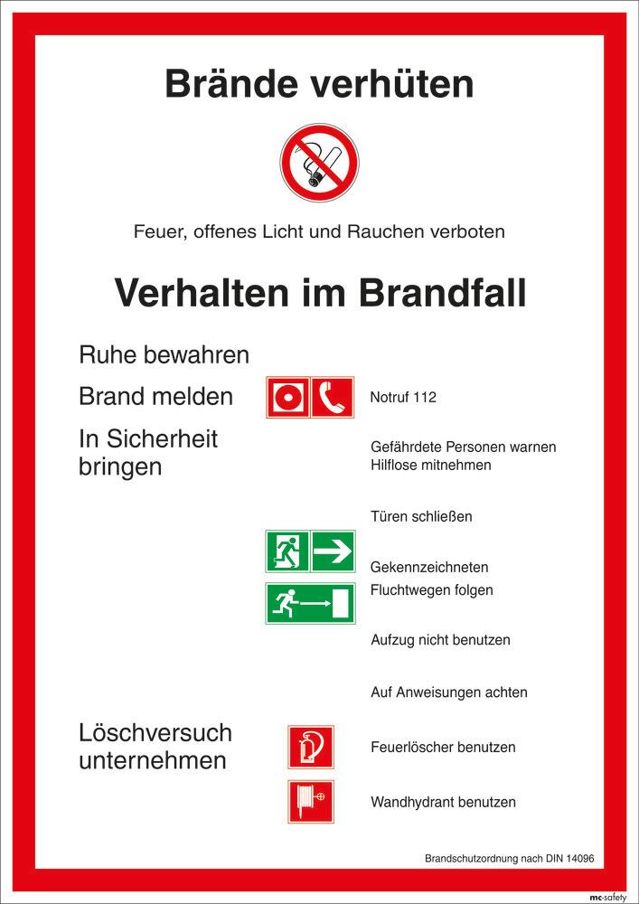 Brandschutzordnung (DIN 14096), auch langnachleuchtend lieferbar.