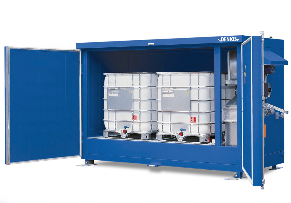 Wärmekammer WK 214-1-K zur Temperierung von 2 IBC bzw. Fässern auf 2 Chemie- oder 3 Europaletten