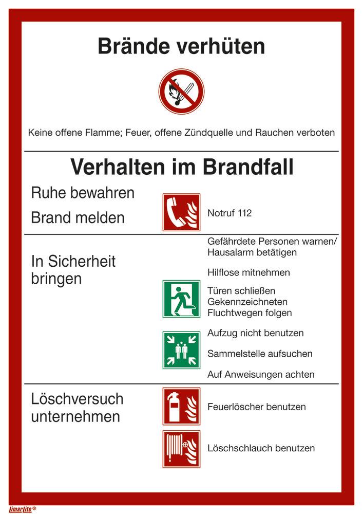 Brandschutzordnung (ISO 7010), auch langnachleuchtend lieferbar.