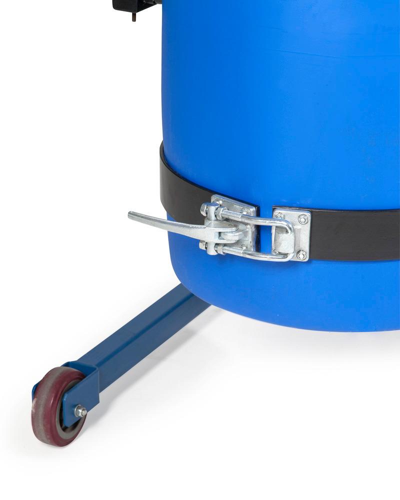 Sicherungsklammer für Kunststofffässer, mit einstellbarem Spannhebelverschluss