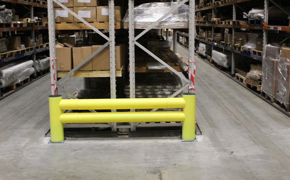 Der Regalanfahrschutz ist lieferbar mit in den Versionen Einzel- oder Doppelplanke