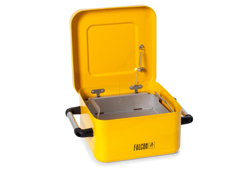 FALCON Tauchbehälter aus verzinktem Stahl und zusätzlich sicherheitsgelb beschichtet, serienmäßig mit Edelstahl-Teilekorb und im Brandfall selbsttätig schließendem Deckel
