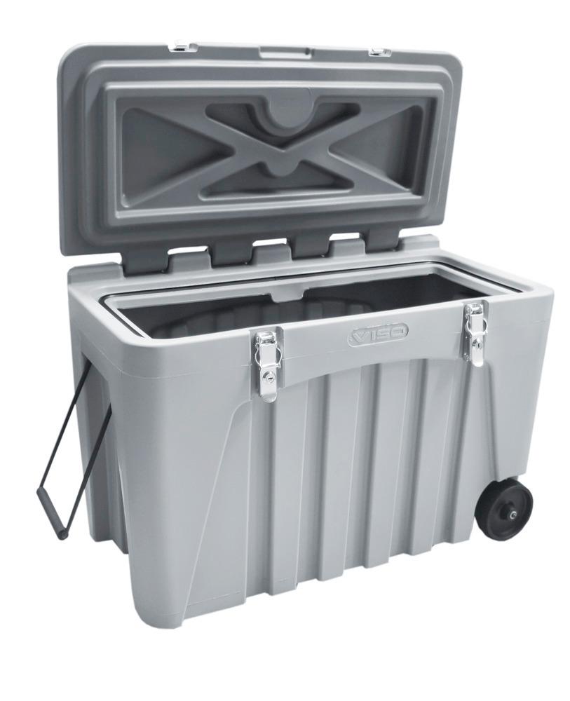 Universalbox mit 104 Liter Volumen, 2 Rollen an der Unterseite (Ø 125 mm) und zusätzlicher Transportgriff für einfacheres Handling