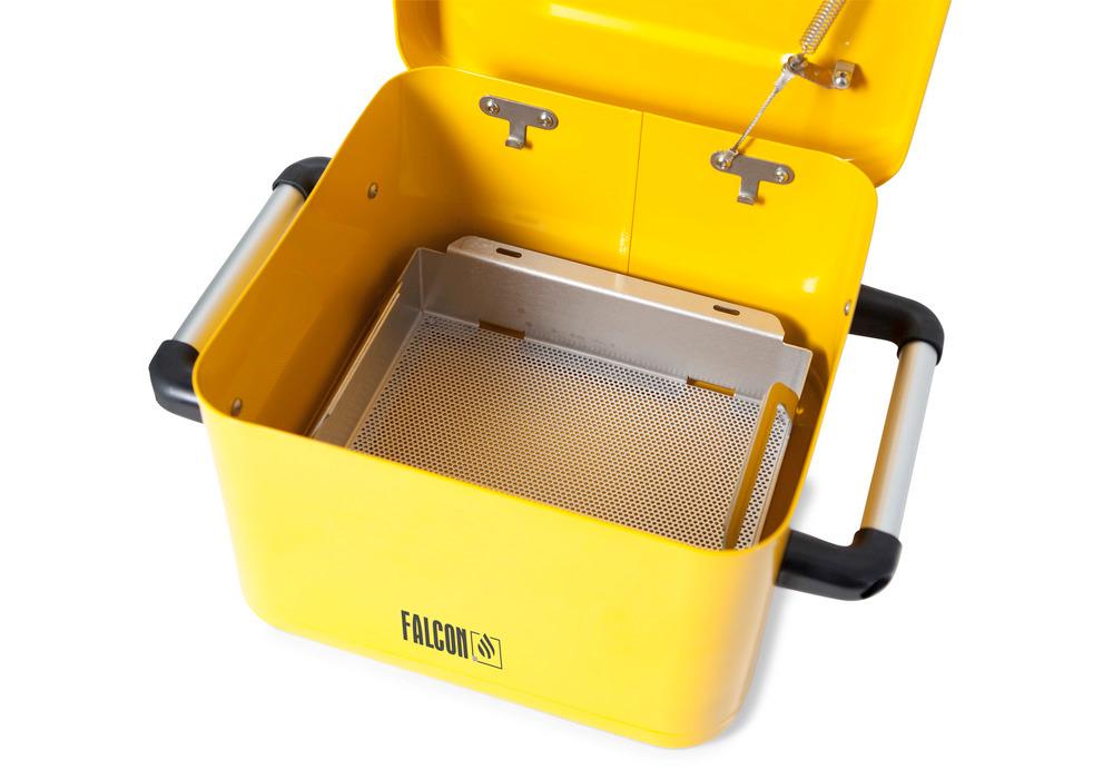 Der Teilekorb kann entweder zum kompletten Eintauchen der Teile in der Reinigungsflüssigkeit auf dem Boden des Tauchbehälters platziert oder aber zum Abtropfen und manuellen Reinigen der Teile an den beiden Befestigungspunkten am oberen Behälterrand eingehängt werden.